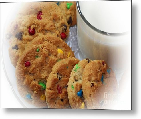 Rainbow Cookies And Milk Metal Print featuring the photograph Rainbow Cookies And Milk - Food Art - Kitchen by Barbara Griffin