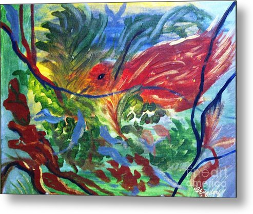 Birds Metal Print featuring the painting Red Bird In Nest by Betty and Kathy Engdorf and Bosarge