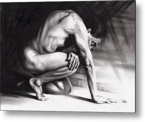 Figurative Metal Print featuring the drawing Resting Il by Paul Davenport