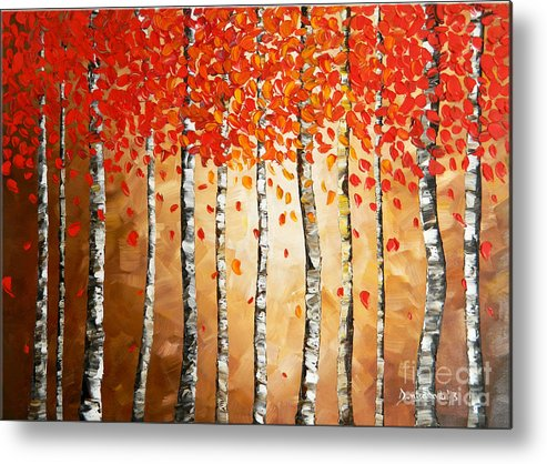 Art Metal Print featuring the painting Rich Trees by Denisa Laura Doltu