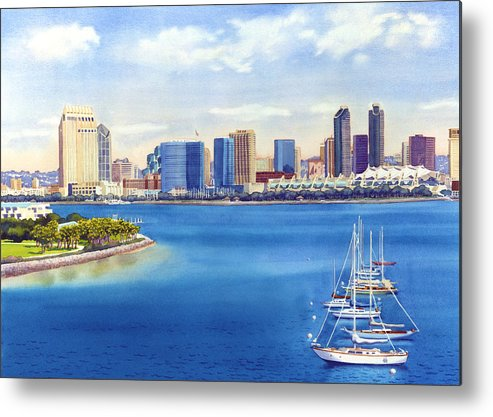 San Diego Metal Print featuring the painting San Diego Skyline With Meridien by Mary Helmreich