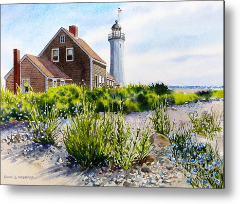 Clouds Metal Print featuring the painting Scituate Light By Day by Karol Wyckoff