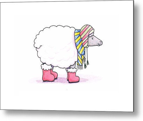 Sheep Metal Print featuring the painting Sheep In A Scarf by Christy Beckwith