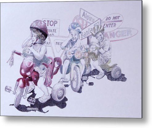 Children Bicycles Kids Portraits Metal Print featuring the painting Signsofconfusion by Tony Ruggiero
