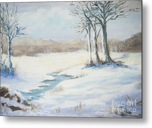 Snow Metal Print featuring the painting Soft As Snow by Jeanne Wrede