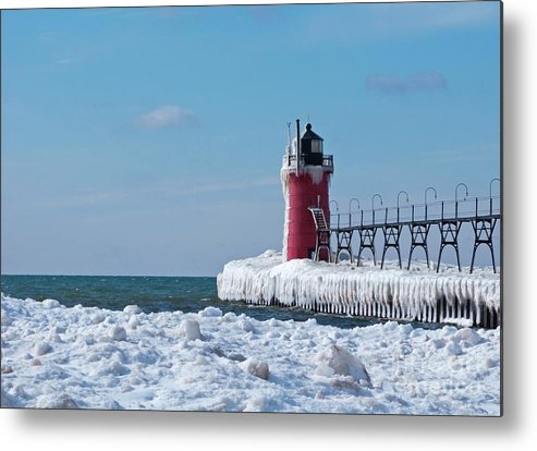 Lighthouse Metal Print featuring the photograph South Haven Ice by Ann Horn