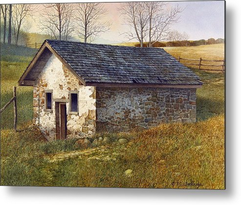 Landscape Metal Print featuring the painting Springhouse by Tom Wooldridge