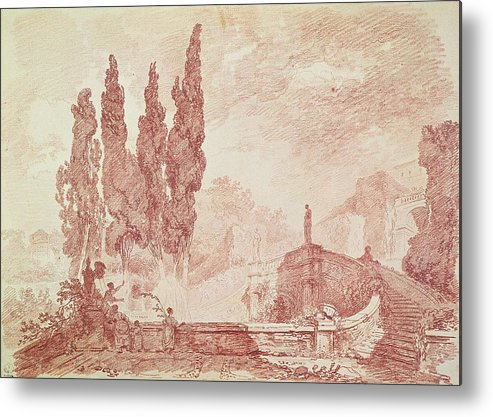 Italian Metal Print featuring the drawing Staircase In The Gardens Of The Villa Deste, Tivoli by Jean-Honore Fragonard