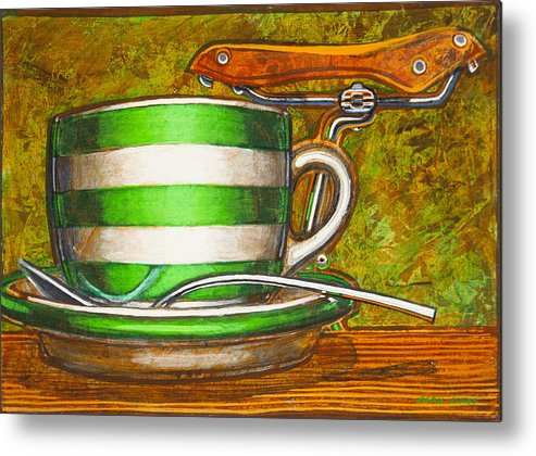 Stripes Metal Print featuring the painting Still Life With Green Stripes And Saddle by Mark Jones