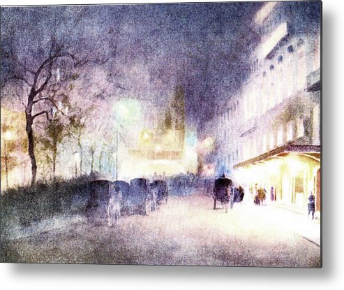 I Fell In Love With This Scene And Put It Into An Abstract Mode Metal Print featuring the photograph Street Scene At Dusk by Pat Mchale
