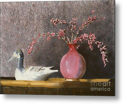 A Wood Carved Duck Rest On A Wicker Coffee Table Near A Hand-thrown Pot Filled With Buck Brush In The Sunlight Of A Sunday Afternoon. Metal Print featuring the painting Sunday Afternoon by Monte Toon