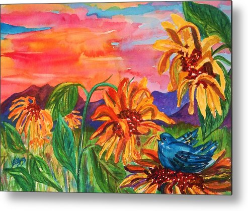 Sunset Metal Print featuring the painting Suns Last Rays by Ellen Levinson