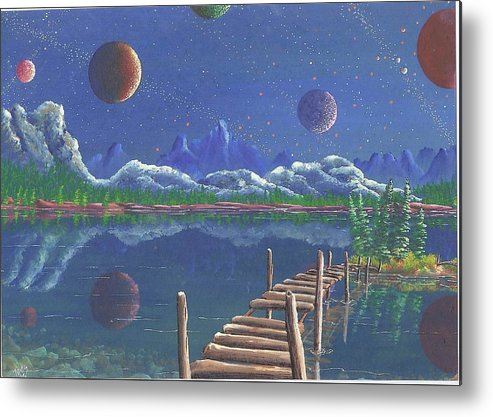 Metal Print featuring the drawing Surrealake by James Taylor
