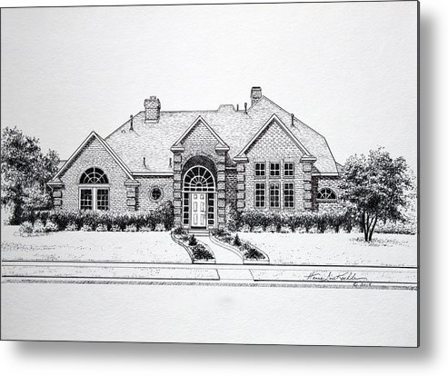 Homes Metal Print featuring the drawing Texas Home 3 by Hanne Lore Koehler