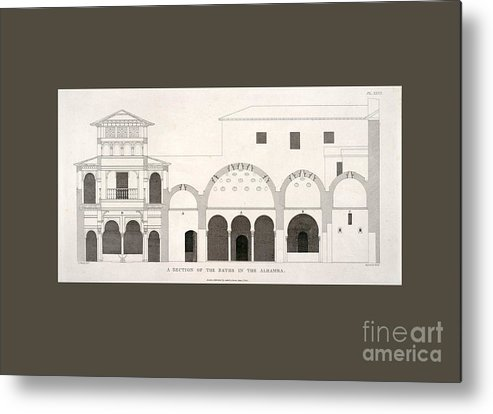 Ancient Metal Print featuring the drawing The Alhambra by Unknown