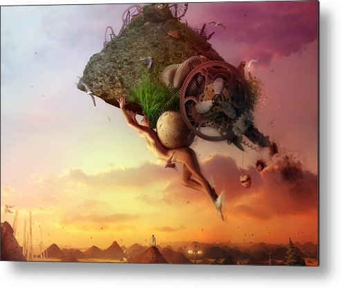 Flying Metal Print featuring the digital art The Carnival Is Over by Mario Sanchez Nevado