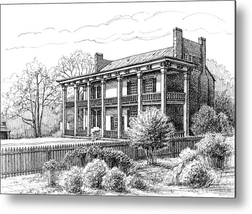 Carnton Plantation Metal Print featuring the drawing The Carnton Plantation In Franklin Tennessee by Janet King