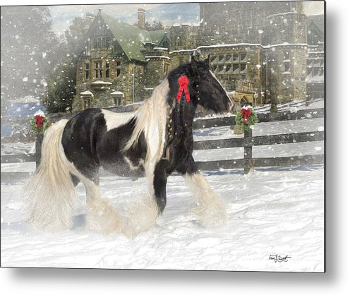 Christmas Metal Print featuring the mixed media The Christmas Pony by Fran J Scott