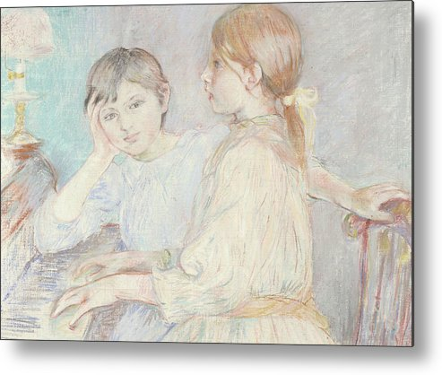 Male; Female; Boy; Girl; Playing; Practice; Practising; Brother; Sister; Ennui; Concentration; Interior; Impressionist; Portrait; Three-quarter Length Metal Print featuring the pastel The Piano by Berthe Morisot