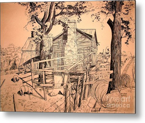 The Pig Sty Metal Print featuring the drawing The Pig Sty by Kip DeVore