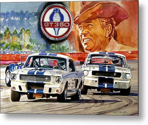 Shelby Artwork Metal Print featuring the painting The Thundering Blue Stripe Gt-350 by David Lloyd Glover