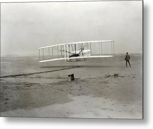 Human Metal Print featuring the photograph The Wright Brothers' First Powered by Science Photo Library