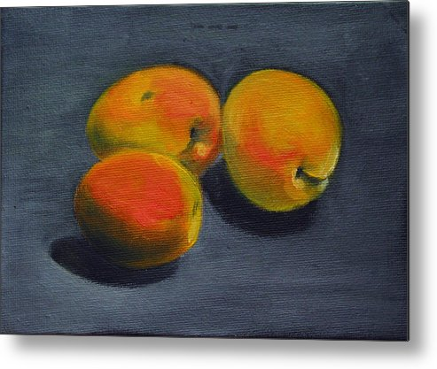 Food Metal Print featuring the painting Three Apricots by Sarah Lynch