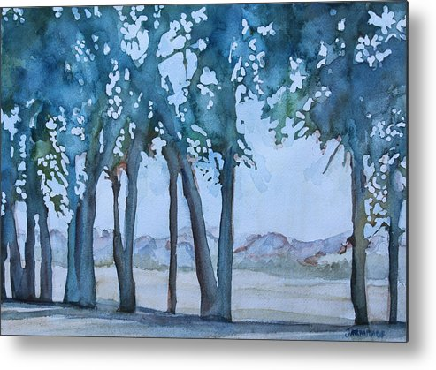 Trees Metal Print featuring the painting Through The Wind Break by Jenny Armitage
