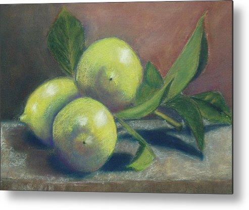 Lemons Metal Print featuring the painting Trio Of Lemons by Ellen Minter