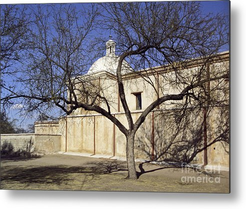 Mission Metal Print featuring the photograph Tumacacori With Tree by Kathy McClure