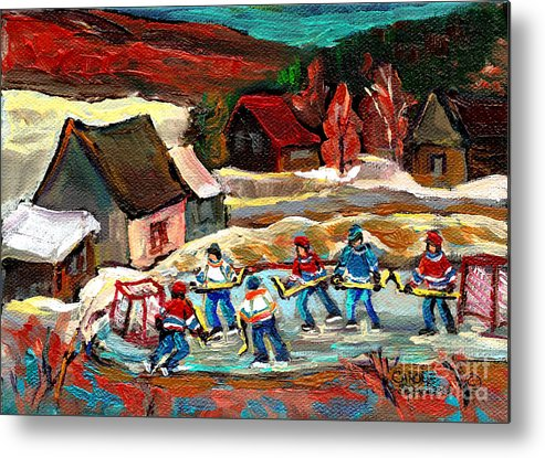 Vermont Metal Print featuring the painting Vermont Pond Hockey Scene by Carole Spandau