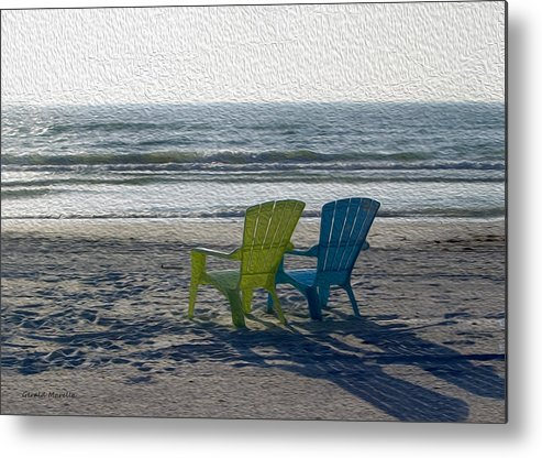 Chairs Metal Print featuring the photograph Waiting For Sunset by Gerald Marella