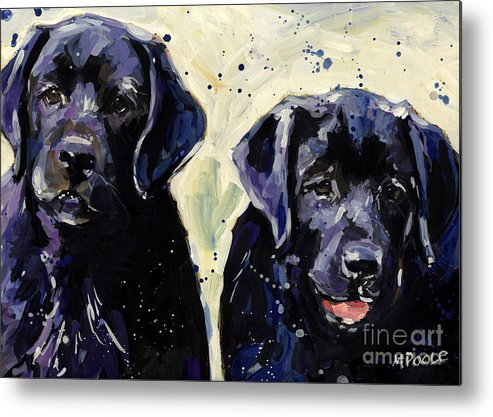 Labrador Retriever Puppies Metal Print featuring the painting Water Boys by Molly Poole