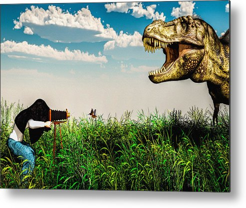 Dinosaur Metal Print featuring the digital art Wildlife Photographer by Bob Orsillo