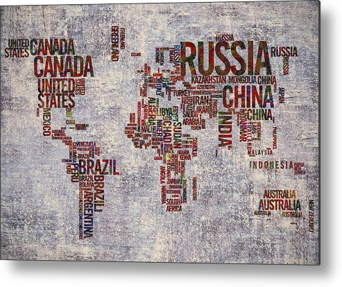 World Map Metal Print featuring the painting World Map Typography Artwork by Georgeta Blanaru