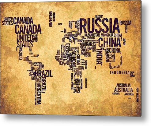 World Map Metal Print featuring the painting World Map Typography 6 Watercolor Painting by Georgeta Blanaru