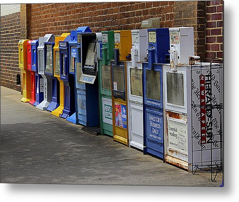 Newspaper Boxes Metal Print featuring the photograph Read All About It by Bob Whitt