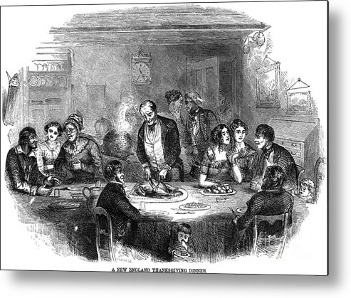1850 Metal Print featuring the photograph Thanksgiving Dinner, 1850 by Granger