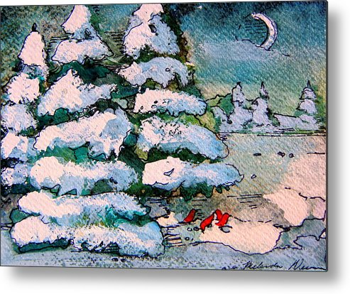 Christmas Metal Print featuring the painting A Winter Feast by Mindy Newman
