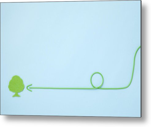 Horizontal Metal Print featuring the photograph Arrow Pointing To Tree (ecology Image) by sozaijiten/Datacraft