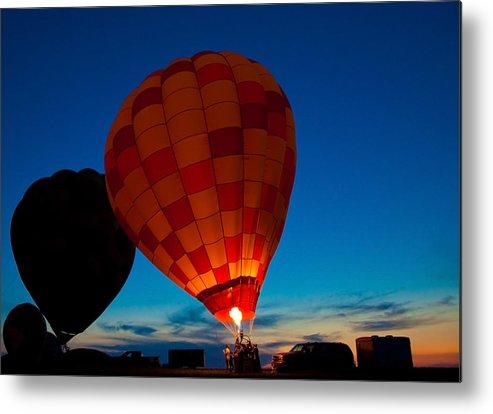 Balloon Night Glow Metal Print featuring the photograph Balloon Glow by Jason Loving