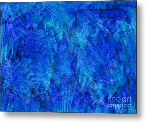 Blue Metal Print featuring the photograph Blue Glass - Abstract Art by Carol Groenen