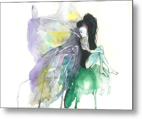 Butterfly Metal Print featuring the painting Butterfly 5 by Viki Vehnovsky
