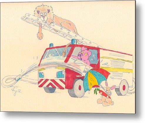 Red Metal Print featuring the drawing Cartoon Fire Engine And Animals by Mike Jory