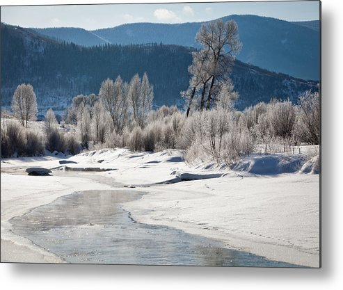 Horizontal Metal Print featuring the photograph Early Morning, Yampa River, Steamboat Springs by Karen Desjardin