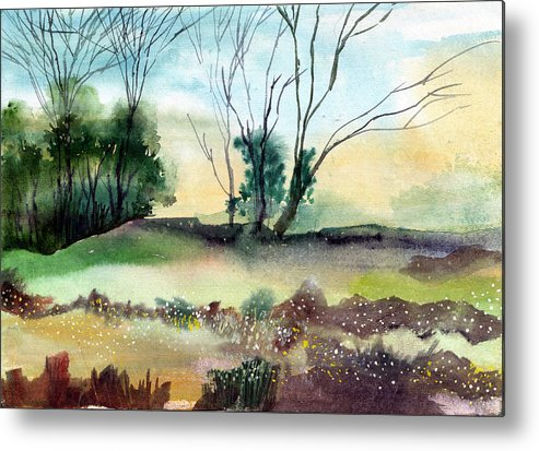 Tree Metal Print featuring the painting Far Beyond by Anil Nene