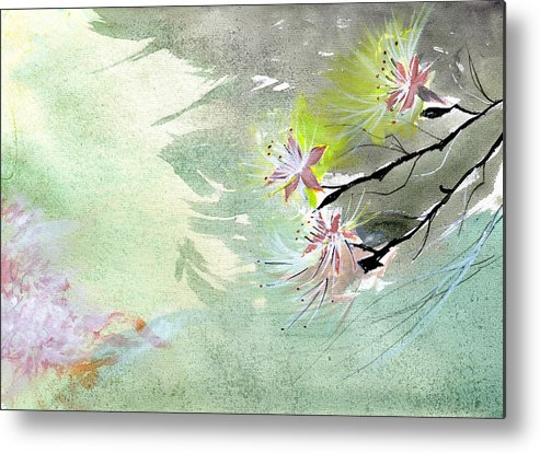 Floral Metal Print featuring the painting Flowers 3 by Anil Nene