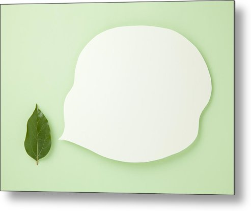 Horizontal Metal Print featuring the photograph Leaves And Speech Balloon (ecology Image) by sozaijiten/Datacraft