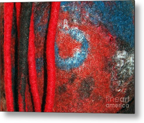 Abstract Metal Print featuring the tapestry - textile Lined Up Reds   by Alexandra Jordankova
