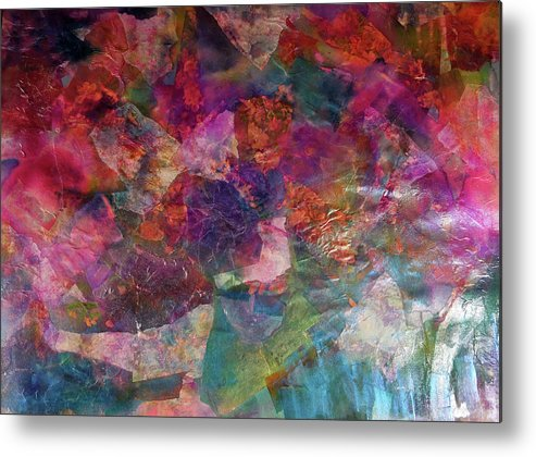 Liven Abstract Collage Metal Print featuring the painting Liven Collage by Don Wright